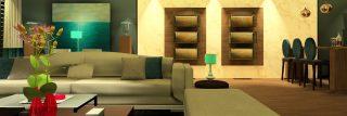 Alt= salón, sofás, mini bar, alabastro, librería, taburetes, arte