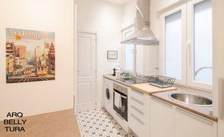 espejo, cocina, baldosa hidráulica, arquitectura, reforma, interiorismo, decoracion
