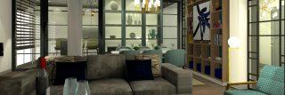 Alt= salón, cocina, comedor, alacena, librería