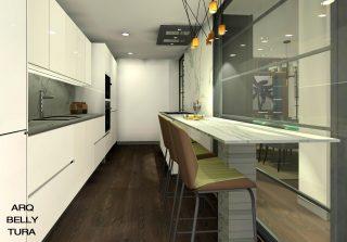 alt= cocina, encimera, marmol, mampara, campana