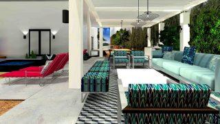 piscina, jacuzzi, sofa, butaca, pergola
